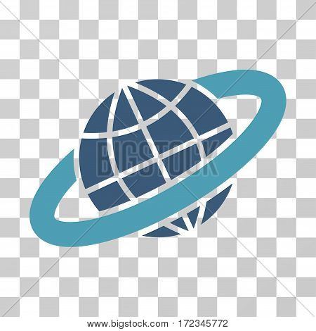 Planetary Ring vector pictograph. Illustration style is flat iconic bicolor cyan and blue symbol on a transparent background.