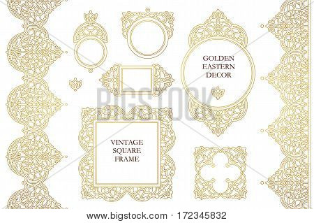 Vector set of line art frames seamless borders for design template. Eastern style element. Golden outline floral decor. Mono line illustration for invitations cards certificate thank you message.