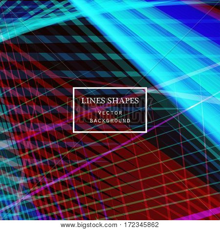 Modern technology striped abstract background vector. Colorful blue and red stripes waves lines for presentation banner brochure poster website and flyer design. Contrast colors grid