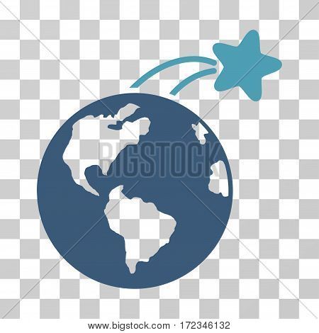 Rising Satellite On Earth vector icon. Illustration style is flat iconic bicolor cyan and blue symbol on a transparent background.
