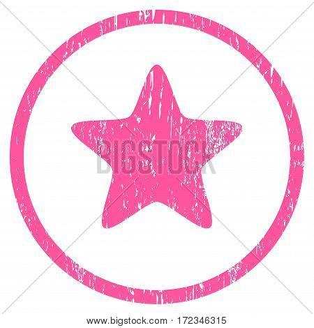 Star grainy textured icon for overlay watermark stamps. Rounded flat vector symbol with dirty texture. Circled pink ink rubber seal stamp with grunge design on a white background.