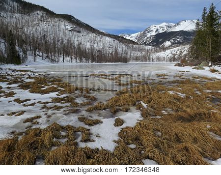 Cub Lake frozen in the winter located in the popular Rocky Mountain National Park in Estes Park Colorado