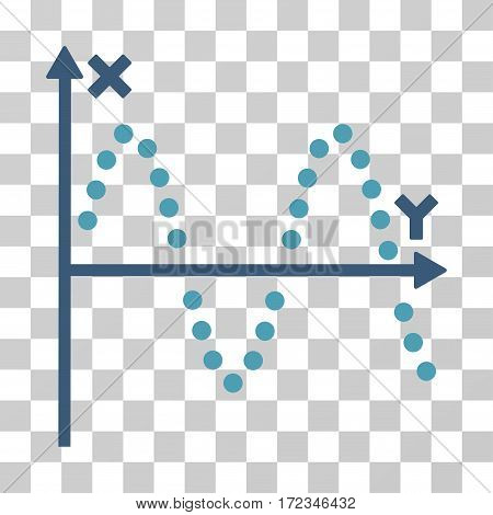 Sine Plot vector pictograph. Illustration style is flat iconic bicolor cyan and blue symbol on a transparent background.