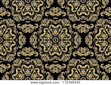 Damask vector classic black and golden pattern. Seamless abstract background with repeating elements. Orient background