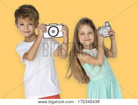 Little Children Taking Photo Papercraft Camera