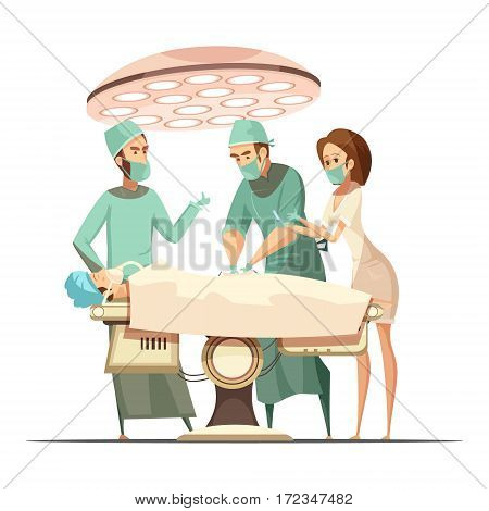 Surgery design in cartoon retro style with operating lamp medical staff and patient on table vector illustration