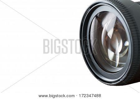 Professional Photography Equipment Photographer Work Kit. Close-up macro shot of photo camera objective lens on white background. Shallow DOF