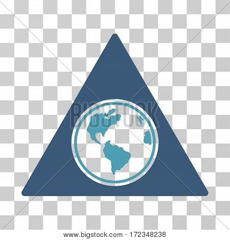 Terra Triangle vector icon. Illustration style is flat iconic bicolor cyan and blue symbol on a transparent background.