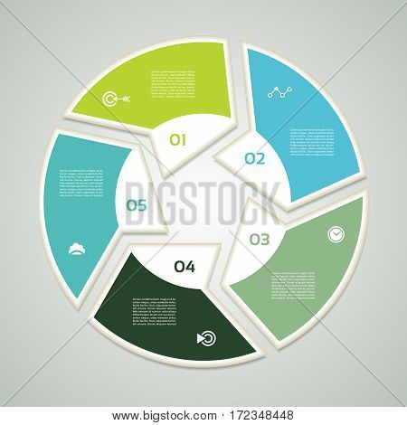 Vector circle infographic. Template for diagram graph presentation and chart. Business concept with five options parts steps or processes. Abstract background. eps 10