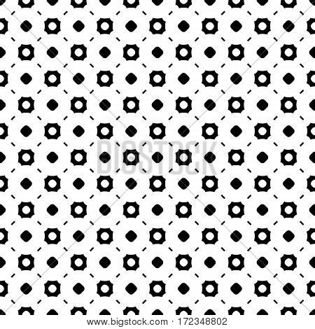 Vector monochrome seamless pattern, abstract endless background. Black & white illustration with simple figures, circles, lines, squares. Repeat geometric tiles. Stylish design for decoration, prints, fabric, cloth, furniture