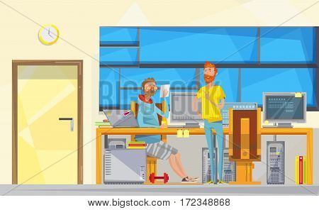 Soft engineer flat doodle hipster characters composition in office room interior with computers furniture and windows vector illustration