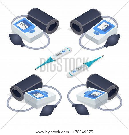 Isometric Medical tonometer for measuring blood pressure isolated on white