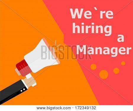 Flat Design Business Concept. We Are Hiring A Manager. Digital Marketing Business Man Holding Megaph
