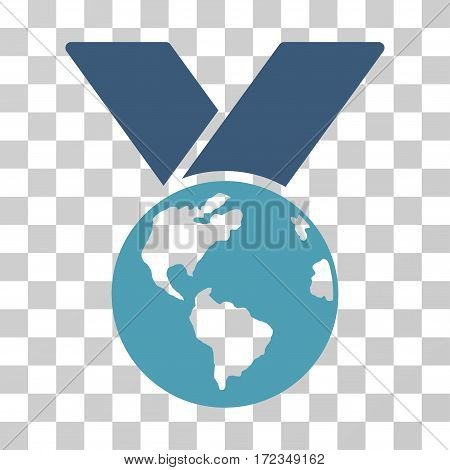 World Medal vector pictogram. Illustration style is flat iconic bicolor cyan and blue symbol on a transparent background.