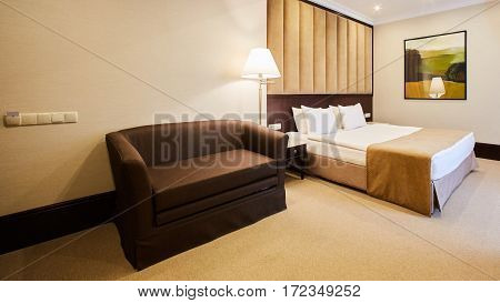 Beautiful bedroom decoration interior design in hotel.