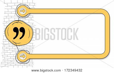 Yellow frame for text and hand written quotation mark