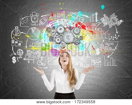 Happy Woman, Brain With Gears, Blackboard