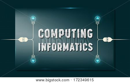 Glass panel with the words computing informatics