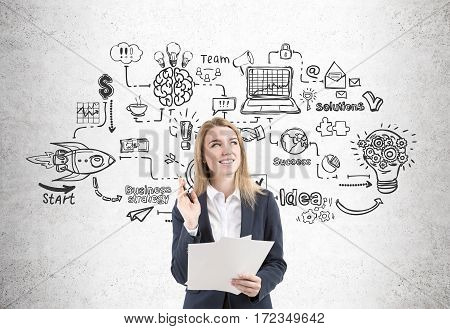 Woman With Documents And Business Network