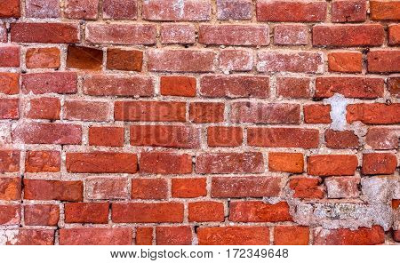 The texture of the brick wall of red brick. Old building. Are visible balances plaste