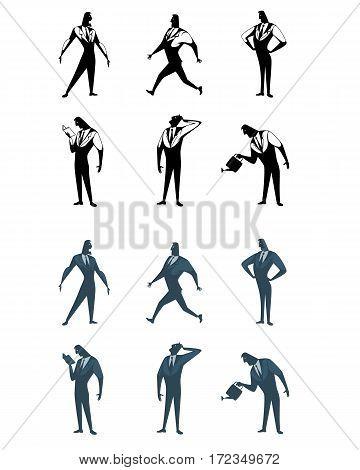 Vector illustration of a six businessman set