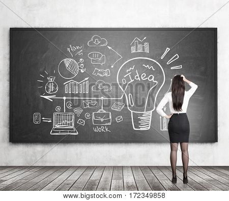 Rear view of a businesswoman scratching her head and standing near a blackboard looking at a colorful bright business idea sketch depicted on it.