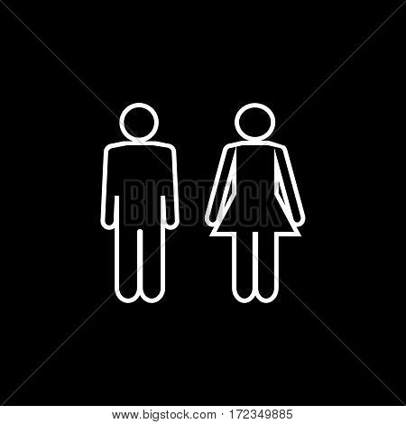 Silhouette men and women on black background. WC icon. Icon public toilette and bathroom for hygiene. Sign restroom women and men. Template for postersign. Flat vector image. Vector illustration.