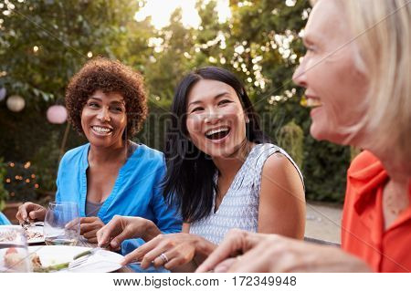 Mature Female Friends Enjoying Outdoor Meal In Backyard