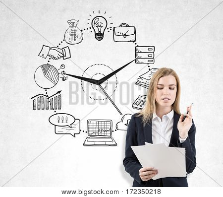 Woman With Documents And Business Clock