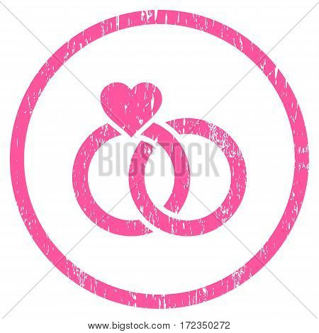 Wedding Rings grainy textured icon for overlay watermark stamps. Rounded flat vector symbol with scratched texture. Circled pink ink rubber seal stamp with grunge design on a white background.