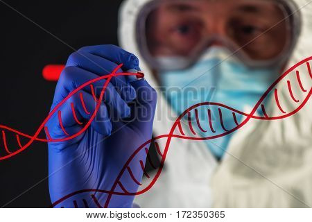 Genetic engineering and science scientist wearing protective clothing working in laboratory