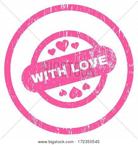 With Love Stamp Seal grainy textured icon for overlay watermark stamps. Rounded flat vector symbol with scratched texture. Circled pink ink rubber seal stamp with grunge design on a white background.