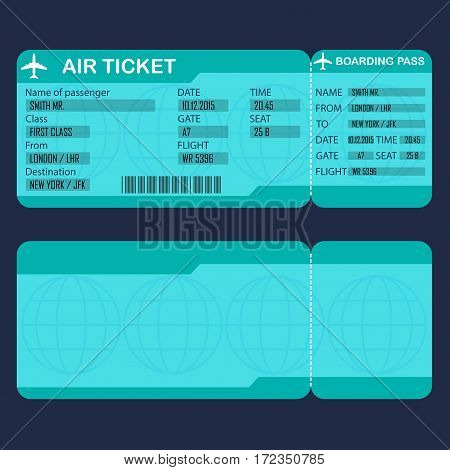 Airplane ticket. Detailed blank of air ticket. Vector illustration.