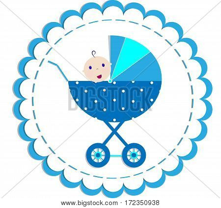 cute card with baby in the stroller vector illustration