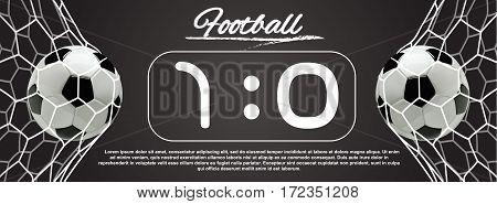 Soccer or Football 3d Ball in the Net on dark background