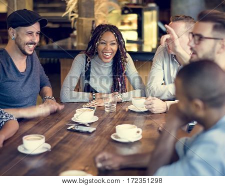 Diverse People Hang Out Coffee Cafe Friendship