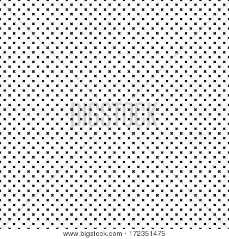 Vector seamless pattern. Simple minimalist monochrome geometric texture, small rounded squares & rhombuses. Abstract endless black & white background. Modern design for prints, decoration, textile, fabric, furniture, digital, web