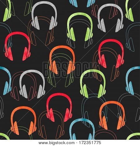 Colorful headphones seamless pattern. Vector music background with earphones.