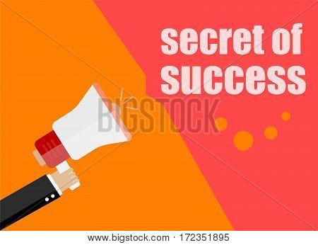 Secret Of Success. Flat Design Business Concept Digital Marketing Business Man Holding Megaphone For