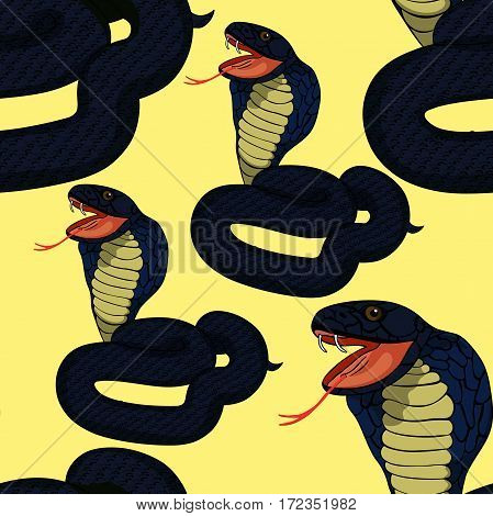 Seamless Pattern Green King Cobra With Fangs. Vector Illustration