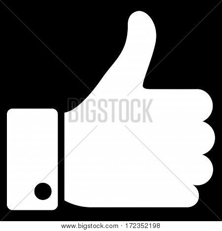 Thumb Up vector icon. Flat white symbol. Pictogram is isolated on a black background. Designed for web and software interfaces.