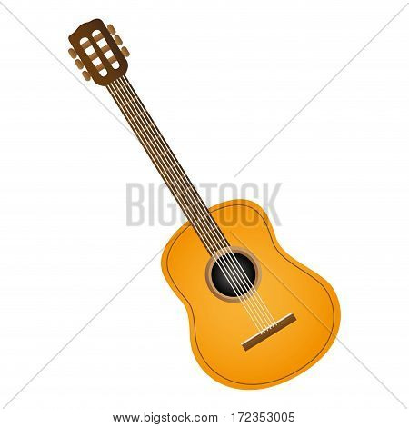 colorful silhouette with acoustic guitar vector illustration