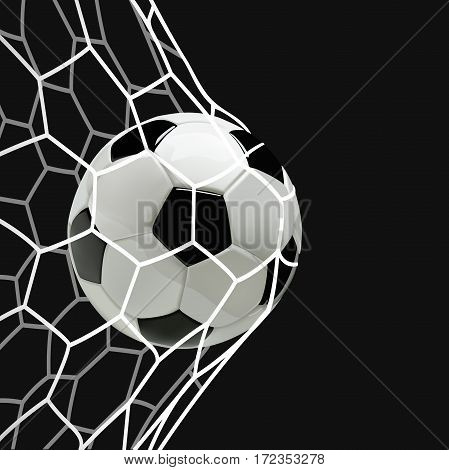 Soccer or Football 3d Ball in the Net on black background