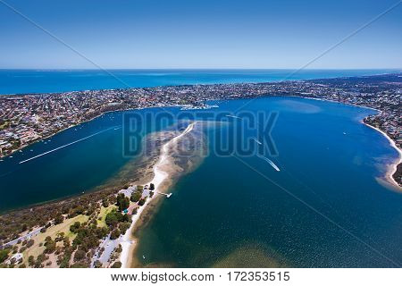 Aerial photograph of the Point Walter Sandbar which reaches out into the Swan River near Fremantle, Western Australia. - Perth, Western Australia.
