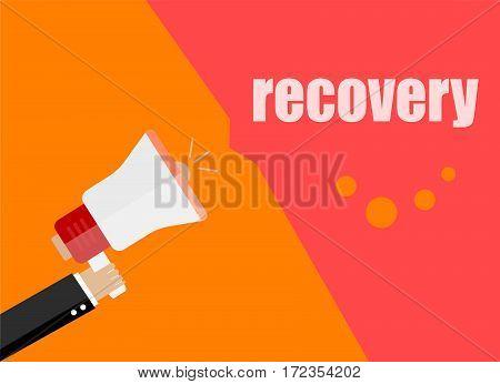 Recovery. Flat Design Business Concept Digital Marketing Business Man Holding Megaphone For Website