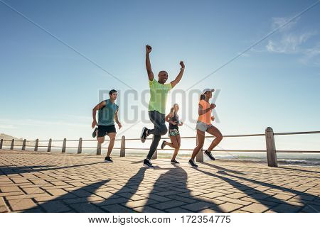 Young Man Winning The Race