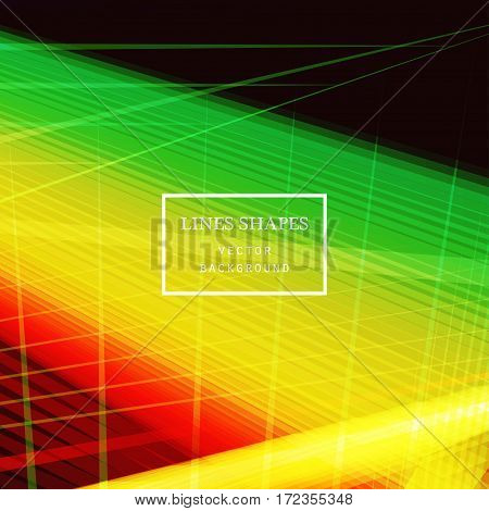 Modern technology striped abstract background vector. Yellow red stripes waves lines for presentation banner brochure poster website and flyer design. Contrast colors grid