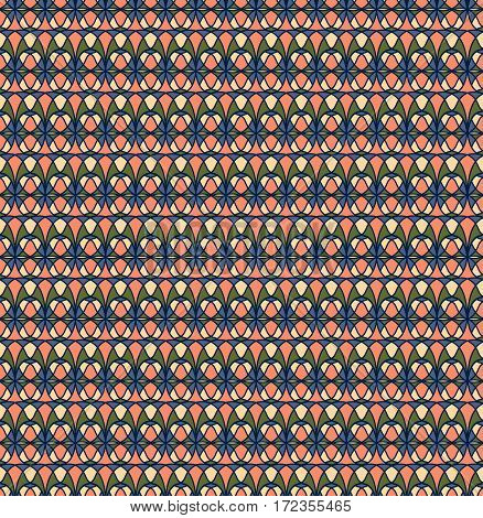 Retro seamless pattern. Cream, pink, green, blue background