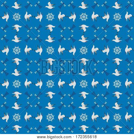 Maritime seamless pattern. Seagull nautical symbol. Freehand drawn cartoon sailing sign. Vector Seashore summer marine element. Template blue sea beach background for textile, packaging print projects