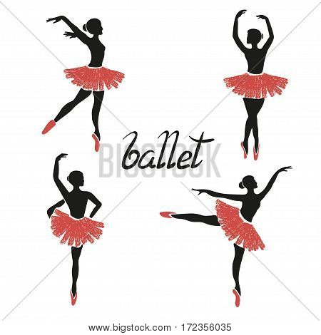 Set of of stylized ballerinas. Vector poses of ballet.